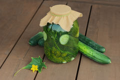 Pickled cucumbers, homemade preserved vegetables Stock Photography