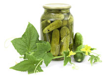 Pickled cucumbers in jar Royalty Free Stock Photography
