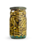 Pickled cucumbers in jar. On white background, path included Stock Photo