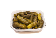 Pickled cucumbers on a plate Royalty Free Stock Images