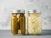 Glass jar with pickled cucumbers, copy space royalty free stock images