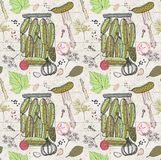 Pickled cucumbers, Seamless pattern Stock Images