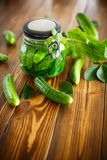 Pickled cucumbers with spices in glass jar Stock Photo