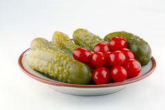Pickled cucumbers and tomatoes Royalty Free Stock Photos