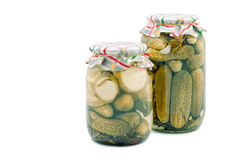 Pickled cucumbers and vegetable marrows Royalty Free Stock Photos