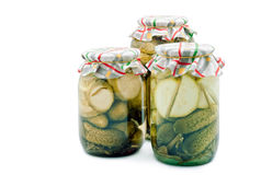 Pickled cucumbers and vegetable marrows Stock Photography
