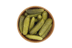 Pickled cucumbers in a wooden bowl Stock Photography