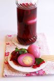 Pickled eggs in a jar and on a plate Royalty Free Stock Photos