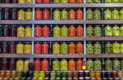 Pickled fruits and vegetables for sale at city market. Baku. Azerbaijan royalty free stock photos