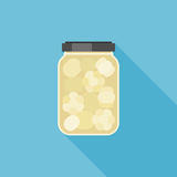 Pickled garlic in glass jar illustration Royalty Free Stock Images