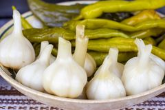 Pickled garlic and green chili pepper stock photo