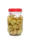 Pickled garlic stock image