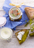 Pickled gherkins and onions Stock Images