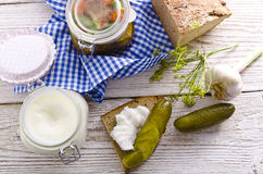 Pickled gherkins and onions Stock Photos