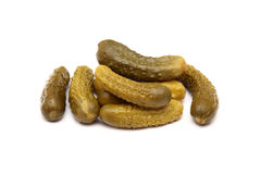 Pickled gherkins. On white background. Close-up Stock Photography