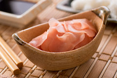 Pickled Ginger. A bowl of delicious fresh pickled sushi ginger Stock Image