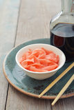 Pickled ginger with soy sauce Royalty Free Stock Photography