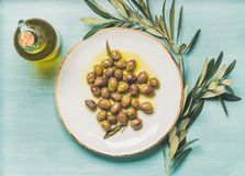 Pickled green olives, olive tree branch, virgin oil, blue background. Pickled green Mediterranean olives on white ceramic plate, olive tree branch and virgin Stock Images