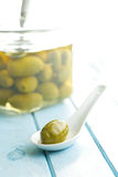 Pickled green olive Royalty Free Stock Photos