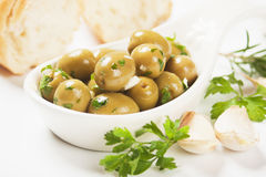 Pickled green olives Royalty Free Stock Photos