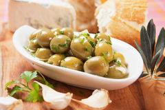 Pickled green olives Stock Photos