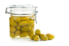 Pickled green olives in jar Stock Photo