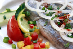 Pickled Herring. Dish with salad garnish Stock Image