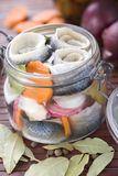 Pickled Herring. In glass jar Royalty Free Stock Photography