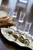 Pickled herring. Close up of pickled herring Stock Photo