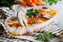 Pickled herring Stock Photography