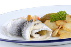Pickled herring with fried potatoes Royalty Free Stock Image