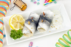 Pickled Herring in the morning after the party Stock Image
