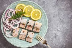 Pickled herring with red onion and lemon slices. Royalty Free Stock Photo