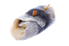 Pickled herring rollmop isolated on white Stock Photo