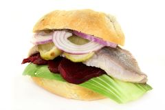 Pickled herring sandwiches Stock Photos