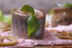 Pickled herring with sauce pink, green basil and olives Royalty Free Stock Photos