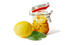 Pickled lemons in the jar Royalty Free Stock Photos