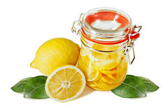 Pickled lemons in the jar Royalty Free Stock Photography