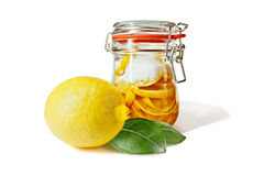 Pickled lemons in the jar Stock Images