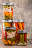 Pickled mixed vegetables home canning Royalty Free Stock Photo