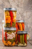 Pickled mixed vegetables home canning Stock Photo