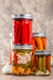 Pickled mixed vegetables home canning Stock Photography