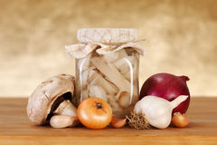 Pickled mushrooms Stock Images