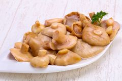 Pickled mushrooms in the bowl. With spices royalty free stock image