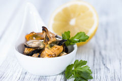 Pickled Mussels (with fresh herbs) Royalty Free Stock Images