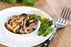 Pickled Mussels (with fresh herbs) Stock Photo