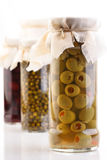 Pickled olives in jar - studio shot Royalty Free Stock Photo