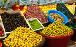 Pickled olives and lemons at moroccan market Stock Photo