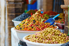 Pickled olives on a traditional Moroccan market Royalty Free Stock Photos