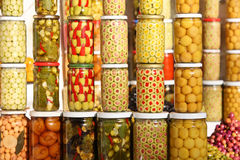 Pickled olives and vegetables Stock Photography